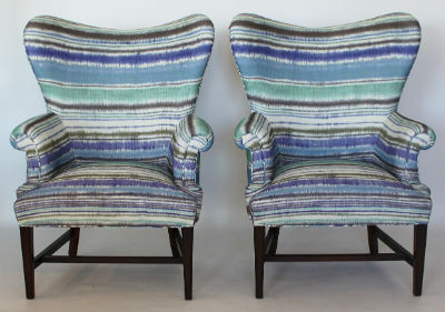 blue striped chairs