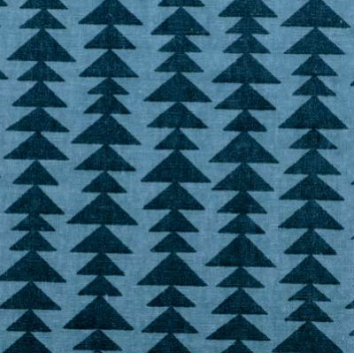 Duralee Triangle Print in Peacock Blues on Cotton