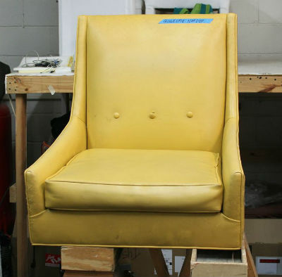mid century club chair before