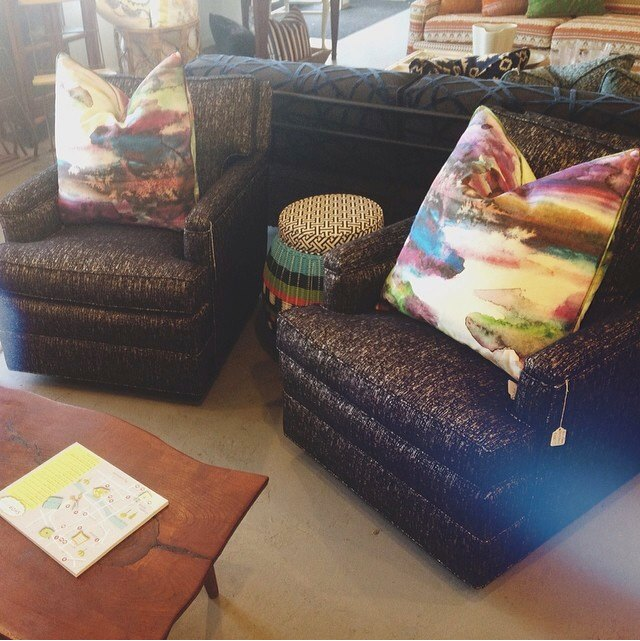 """Heather Banks snapped this photo of our two newly upholstered club chairs. The pair was quite popular. One shopper even described them as """"yummy!"""""""