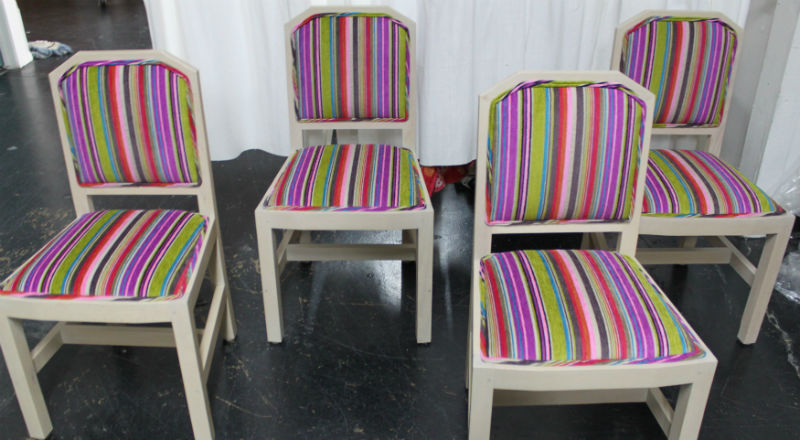 "Kooky dining chairs with bold and radiant purples. Fabric used is Designer's Guild "" in blick."