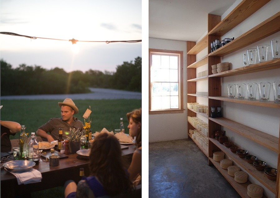 Ben Edgerton at the Contigo Ranch (left, photo by Molly Winters); wooden shelves by Donald Judd via Jeremy Zilar.