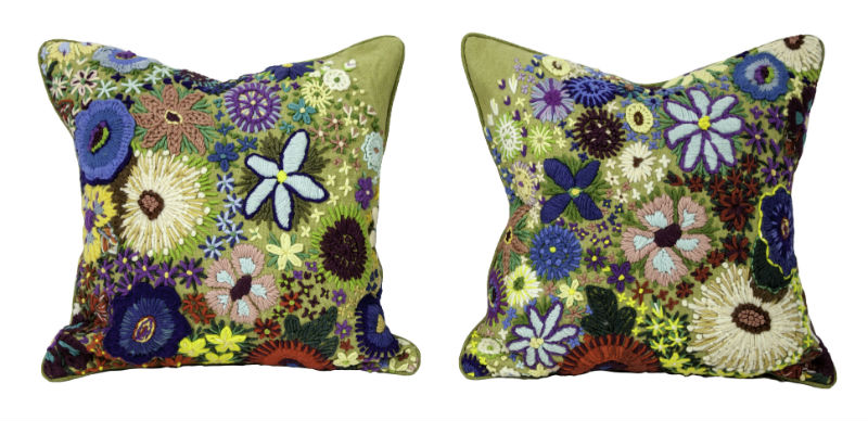 Crewel Floral Pillows #1 and #2.