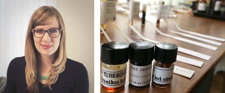 Jessica Hannah and the scents she has in her studio space. Photos via J.Hannah Co.'s Facebook page.