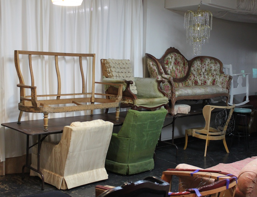 Take a look at these great bones! If you can dream it we can upholster it! That chandelier on the top right is on sale, too, for a cool $100!