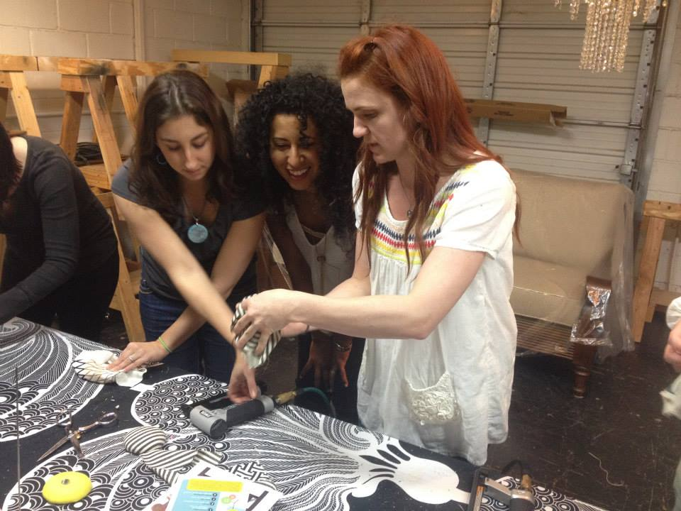 Katherine led a group of women in a DIY pincushion making session, using fabric remnants and basic upholstery techniques.
